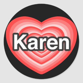 Amo a Karen. Te amo Karen. Corazón Pegatina Redonda