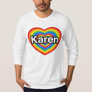 Amo a Karen. Te amo Karen. Corazón Playera