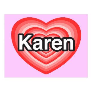 Amo a Karen. Te amo Karen. Corazón Tarjeta Postal