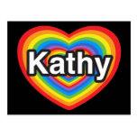 Amo a Kathy. Te amo Kathy. Corazón Postal