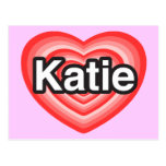 Amo a Katie. Te amo Katie. Corazón Postal