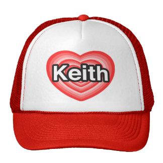 Amo a Keith. Te amo Keith. Corazón Gorras
