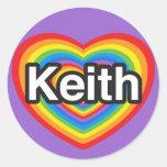 Amo a Keith. Te amo Keith. Corazón Pegatina Redonda