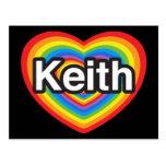 Amo a Keith. Te amo Keith. Corazón Tarjeta Postal