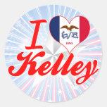 Amo a Kelley, Iowa Pegatina Redonda