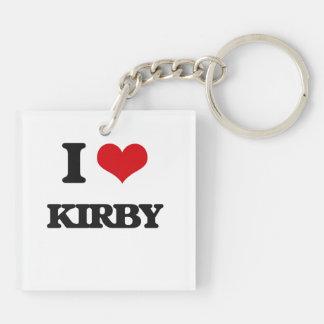 Amo a Kirby Llavero Cuadrado Acrílico A Doble Cara