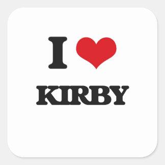 Amo a Kirby Pegatina Cuadrada