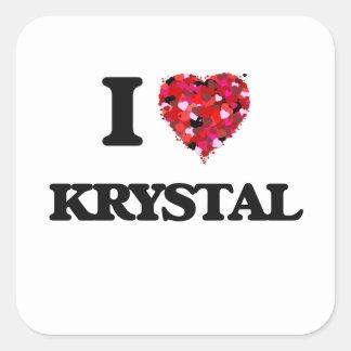 Amo a Krystal Pegatina Cuadrada