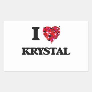 Amo a Krystal Pegatina Rectangular