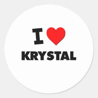 Amo a Krystal Pegatina Redonda