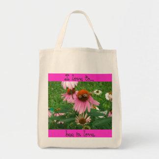 Amo a la abeja en amor bolsa tela para la compra