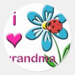 Amo a la abuela etiquetas redondas