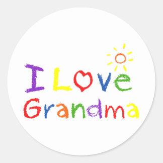Amo a la abuela etiqueta redonda