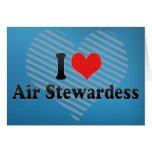 Amo a la azafata de aire tarjeta