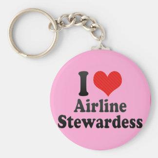 Amo a la azafata de la línea aérea llavero redondo tipo pin