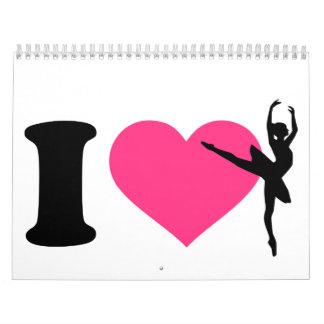 Amo a la bailarina del ballet calendario de pared