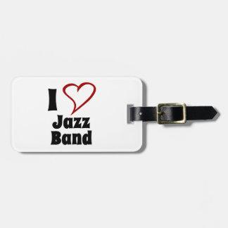 Amo a la banda de jazz etiquetas para maletas