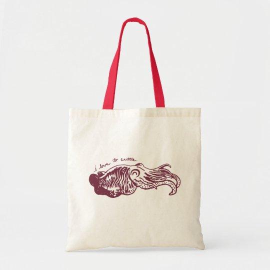 Amo a la bolsa de asas de la sepia
