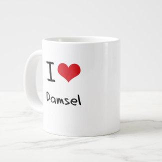Amo a la damisela tazas jumbo