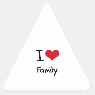 Amo a la familia pegatinas triangulo personalizadas