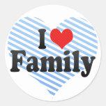 Amo a la familia pegatina redonda