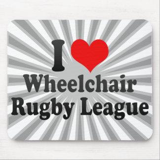 Amo a la liga del rugbi de la silla de ruedas alfombrilla de ratones