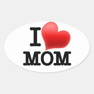 Amo a la mamá pegatina ovaladas personalizadas