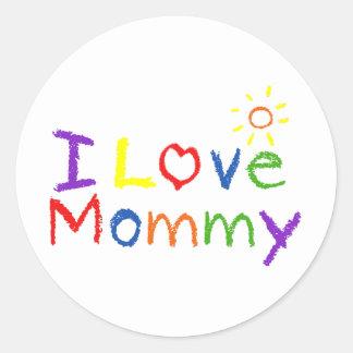 Amo a la mamá pegatina redonda