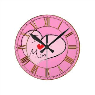 Amo a la mamá reloj redondo mediano