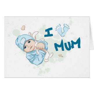 Amo a la momia - muchacho tarjeta de felicitación