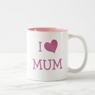 Amo a la momia taza de café de dos colores