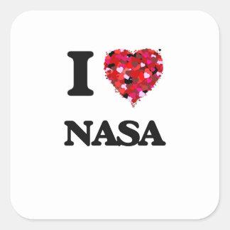 Amo a la NASA Pegatina Cuadrada