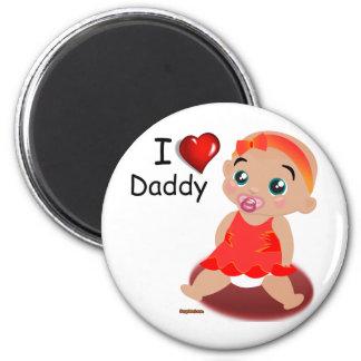 Amo a la niña del papá imán redondo 5 cm