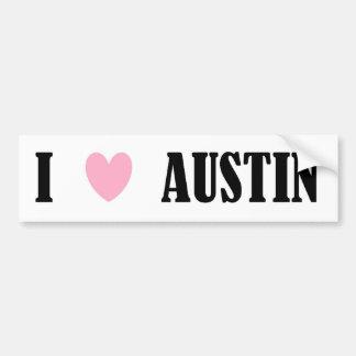 Amo a la pegatina para el parachoques de Austin Etiqueta De Parachoque