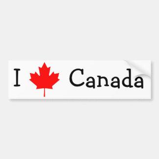 Amo a la pegatina para el parachoques de Canadá Etiqueta De Parachoque