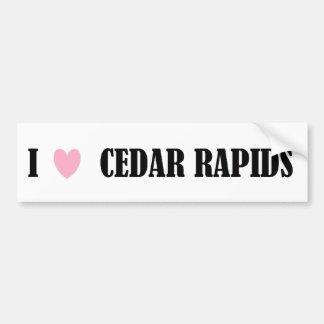 Amo a la pegatina para el parachoques de Cedar Rap Pegatina Para Auto
