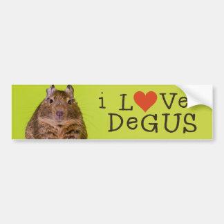 Amo a la pegatina para el parachoques de Degus Pegatina De Parachoque