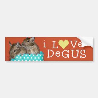 Amo a la pegatina para el parachoques de Degus Etiqueta De Parachoque
