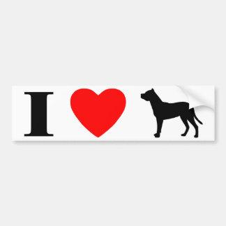 Amo a la pegatina para el parachoques de Dogo Arge Etiqueta De Parachoque