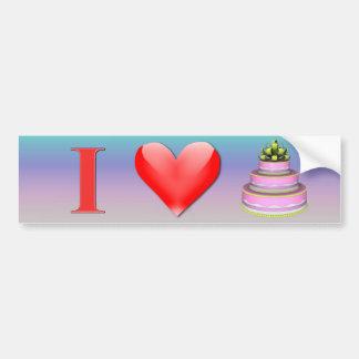 Amo a la pegatina para el parachoques de la torta pegatina para auto