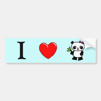 Amo a la pegatina para el parachoques de las panda pegatina para auto