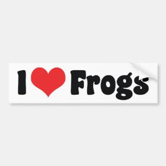 Amo a la pegatina para el parachoques de las ranas etiqueta de parachoque