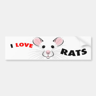 Amo a la pegatina para el parachoques de las ratas pegatina para auto
