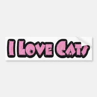 Amo a la pegatina para el parachoques de los gatos pegatina para auto