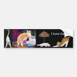 Amo a la pegatina para el parachoques de los gatos etiqueta de parachoque
