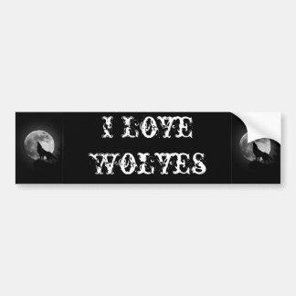 Amo a la pegatina para el parachoques de los lobos pegatina para auto