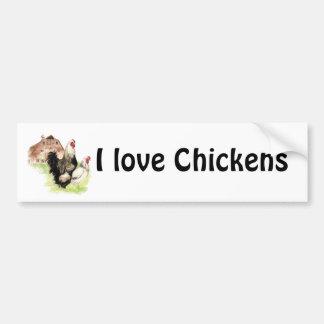 Amo a la pegatina para el parachoques de los pollo pegatina para auto