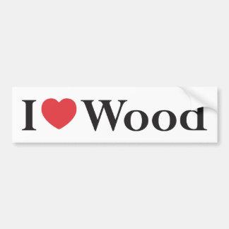 Amo a la pegatina para el parachoques de madera pegatina de parachoque