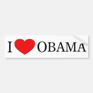 Amo a la pegatina para el parachoques de Obama Pegatina Para Auto