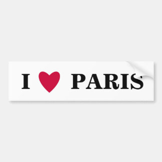 Amo a la pegatina para el parachoques de París Etiqueta De Parachoque